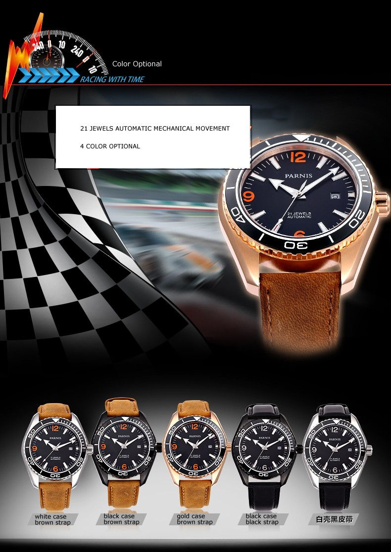 Parnis Racing Seriers Luminous Mens Leather Watchband  Fashion Automatic Mechanical Watch Wristwatch