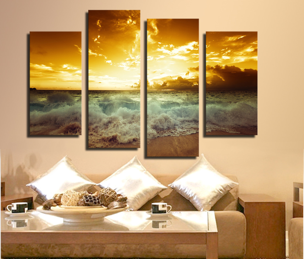 4 P High Quality Hot Sell The Family Decorates Sea wave Print in The Oil Painting On The Canvas,Wall Art Picture Gift unframed(China (Mainland))