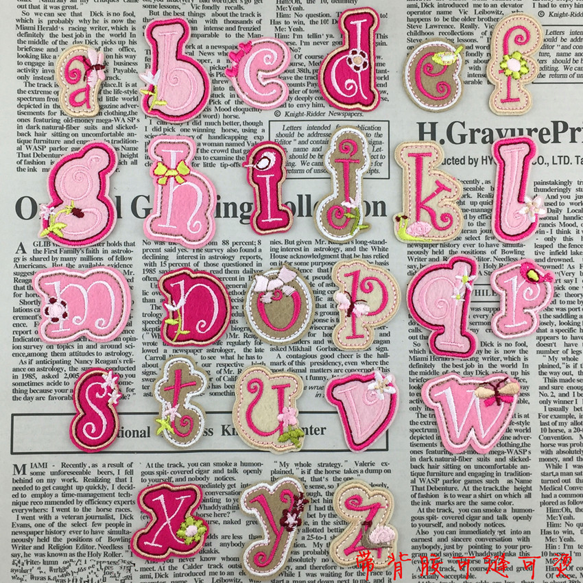 Free shipping 26pcs english letters embroidered iron on for Diy iron on letters for clothing