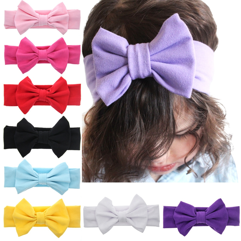 New Arrival Kids Solid Cute Bow Knot Soft Hair Tie Bands Bows Headwear for Women Girls Headbands Hair Accessories(China (Mainland))
