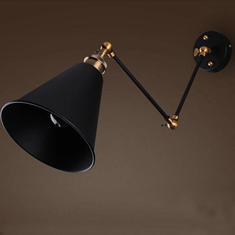 2015 New Arrival Incandescent Bulbs Wall Mounted Ac Iron 51-60w Vintage E27 Knob Switch Metal 1 Plated Industrial Wall Lamps