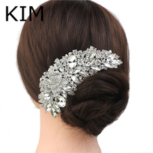 Rhinestone Crystals Comb Clear Flower Hair Comb for Wedding Women Jewelry Hair Accessories Bridal Comb Free Shipping(China (Mainland))