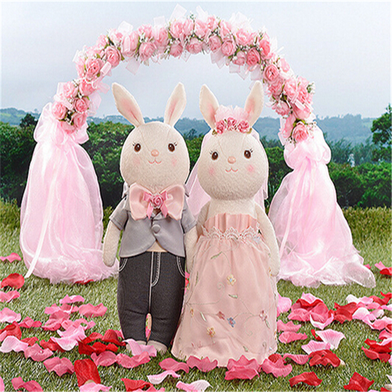 "High Quality 1 Pair 14"" Wedding Couple Metoo Rabbit Doll Baby Bunny Plush Toys Stuffed Animals Wedding Toys Gifts A12(China (Mainland))"