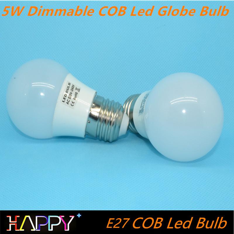 New Design 100% CREE Chip Dimmable E27 E26 B22 COB Led Globe Bulb 5W 110v/220v 360 Degree Led Spot light lamp(China (Mainland))