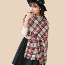 Fashion Women Cashmere Scarf Plaid Tassels Dual Purpose Two-Side Tartan Large Shawls And Scarves Winter Thick Ponchos And Capes