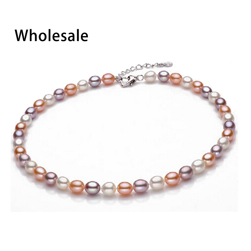 Fashion different natural teardrop pearl necklace with platinum plated clasp 45 cm (18in) Pearl necklace for women fine jewelry(China (Mainland))