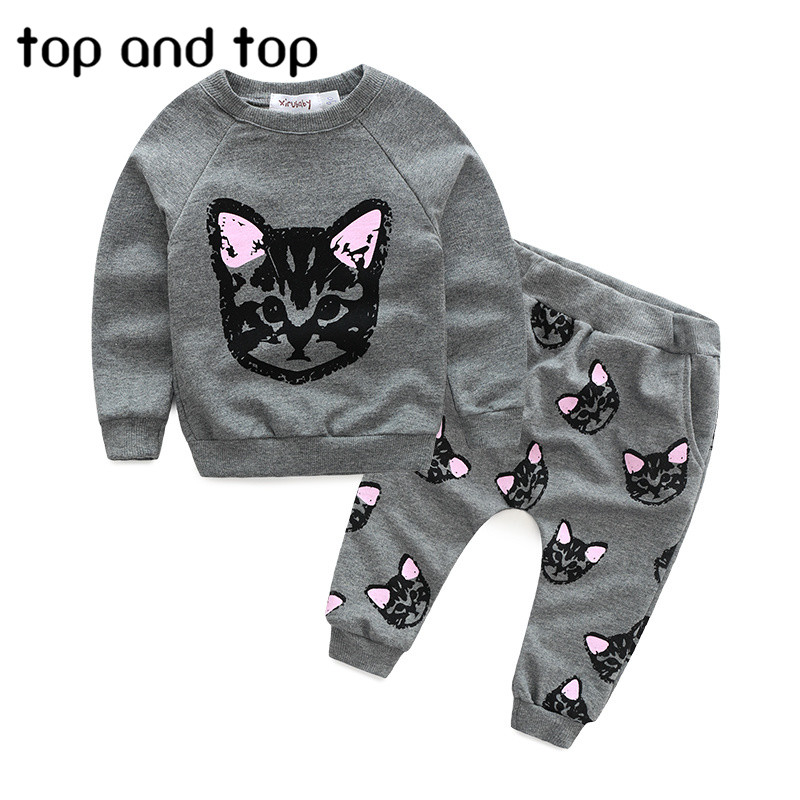 (actual photo)2016 hello kitty girls clothing sets kids clothes little cat baby girl and boy long sleeve cotton set(China (Mainland))