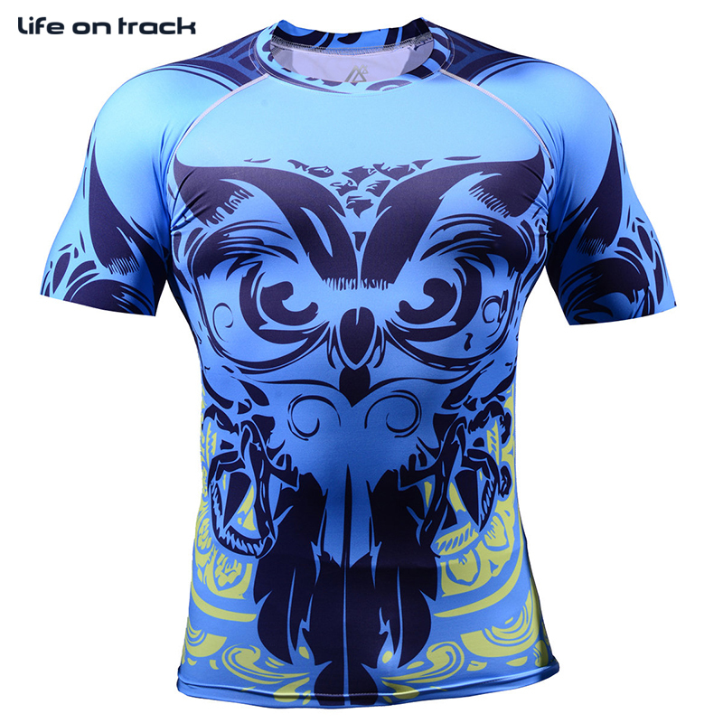 2016 Men Full Print Running Shirts Weight Liftng Fitness Compression Base Layer Bodybuilding Tights Running Clothing 4XL