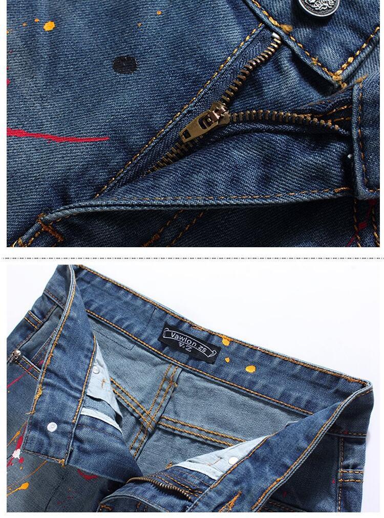Скидки на Осень тонкий Цвет чернил мужские джинсы 1 джинсы Ноги брюки мужчина прямо персонализированные люксовый бренд моды эластичные брюки