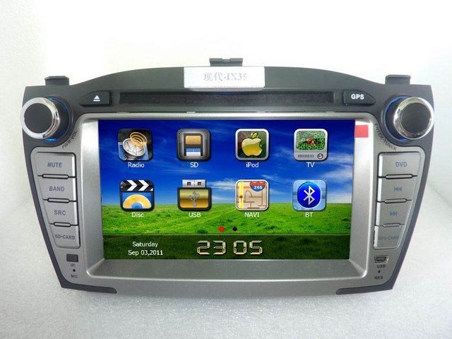 2 Din indash HD Car DVD Audio For Hyundai IX35 with GPS/ Blue tooth/I-POD control/Amplifier.GPS map free