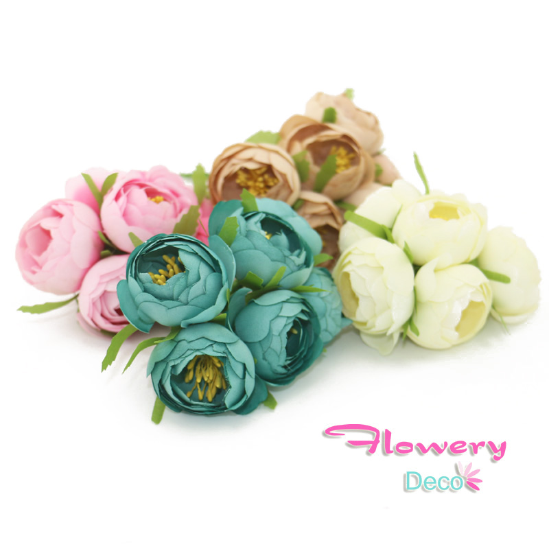 4cm Silk Flowers Artificial Flowers Simulation High Quality Tea Bud Tea Rose 6pcs/lot Tissue Hand Made Wedding Decoration(China (Mainland))