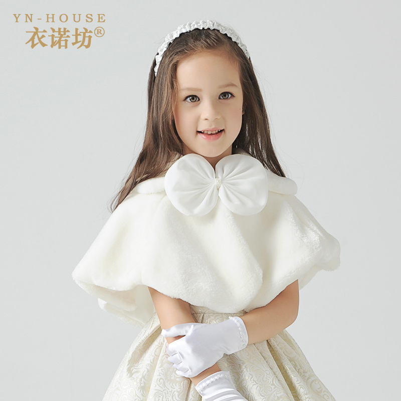 2016 Girl Winter Outwear White Pink Red Baby & Teenage Girls Faux Fur Short Coats Jackets Kids Girls Cloak Cape With Big Bow(China (Mainland))