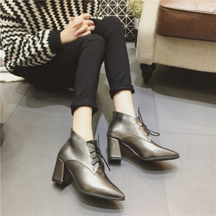 2016 autumn winter thick heel high pumps pointed toe lacing martin boots women patent leather MAILE010 - My Happy Niu Store store