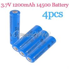 2015 New Arrival Blue 4PCS/lot 3.7V 1200mAh ICR 14500 AA Li-ion Lithium Rechargeable Battery