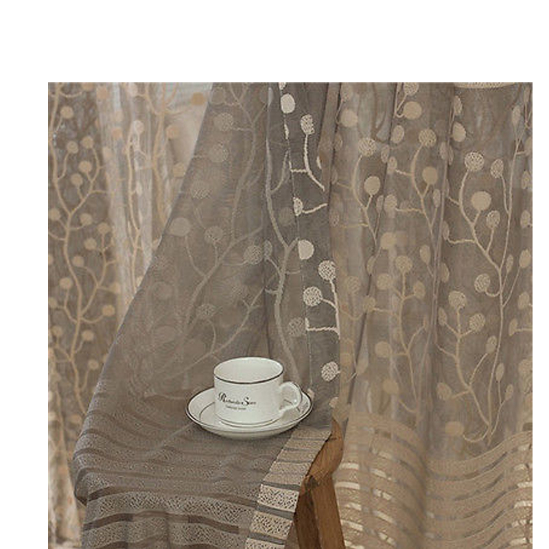 Fashion Stripe Rustic Curtain Yarn Bedroom Living Room: Gray Sheer Curtains Promotion-Shop For Promotional Gray