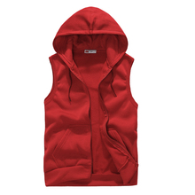 2015 New Causal Men Sports Vest Fashion Solid Mens Hoodies Young Lovers Hoodie Vest Men Sleeveless Cardigan Coat 5 Colors (China (Mainland))