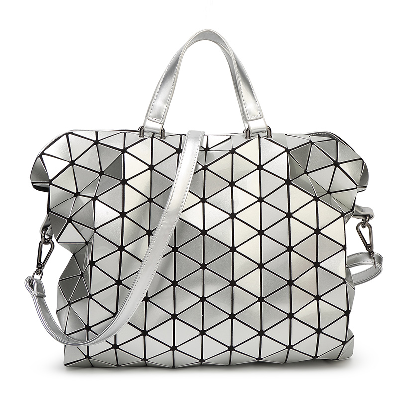 2015 New Women Fashion Laser BAOBAO Bag Geometry Package Sequins Saser Plain Folding Handbags briefcase Shoulder Bags Women bag(China (Mainland))