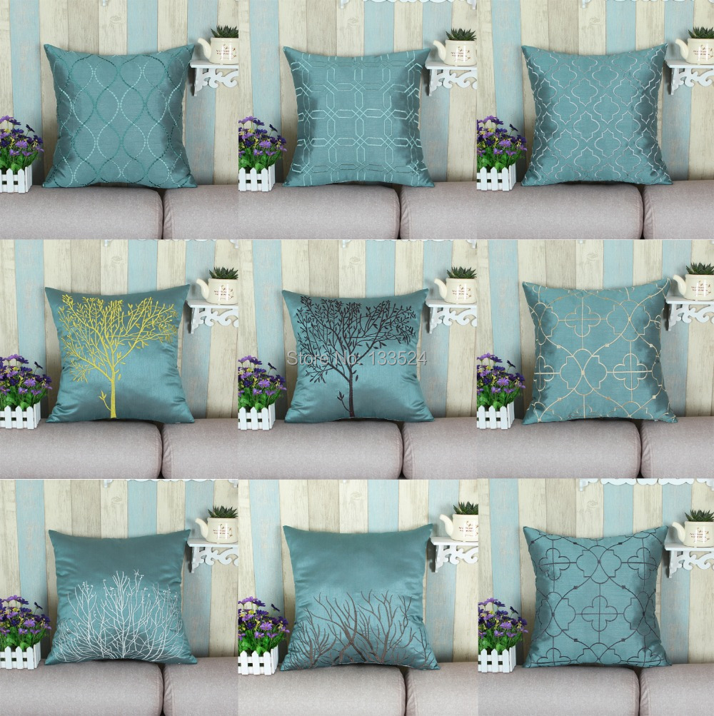 Faux Silk Decorative Pillows Shell Cushion Covers Home Sofa Decoration Bedding Set Teal Various Embroidery Designs 18'' X 18''(China (Mainland))