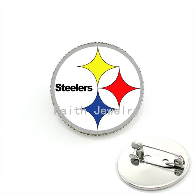 Trendy sports series jewelry case for Pittsburgh Steelers team logo brooches simple style NFL football team brooch pins NF049(China (Mainland))