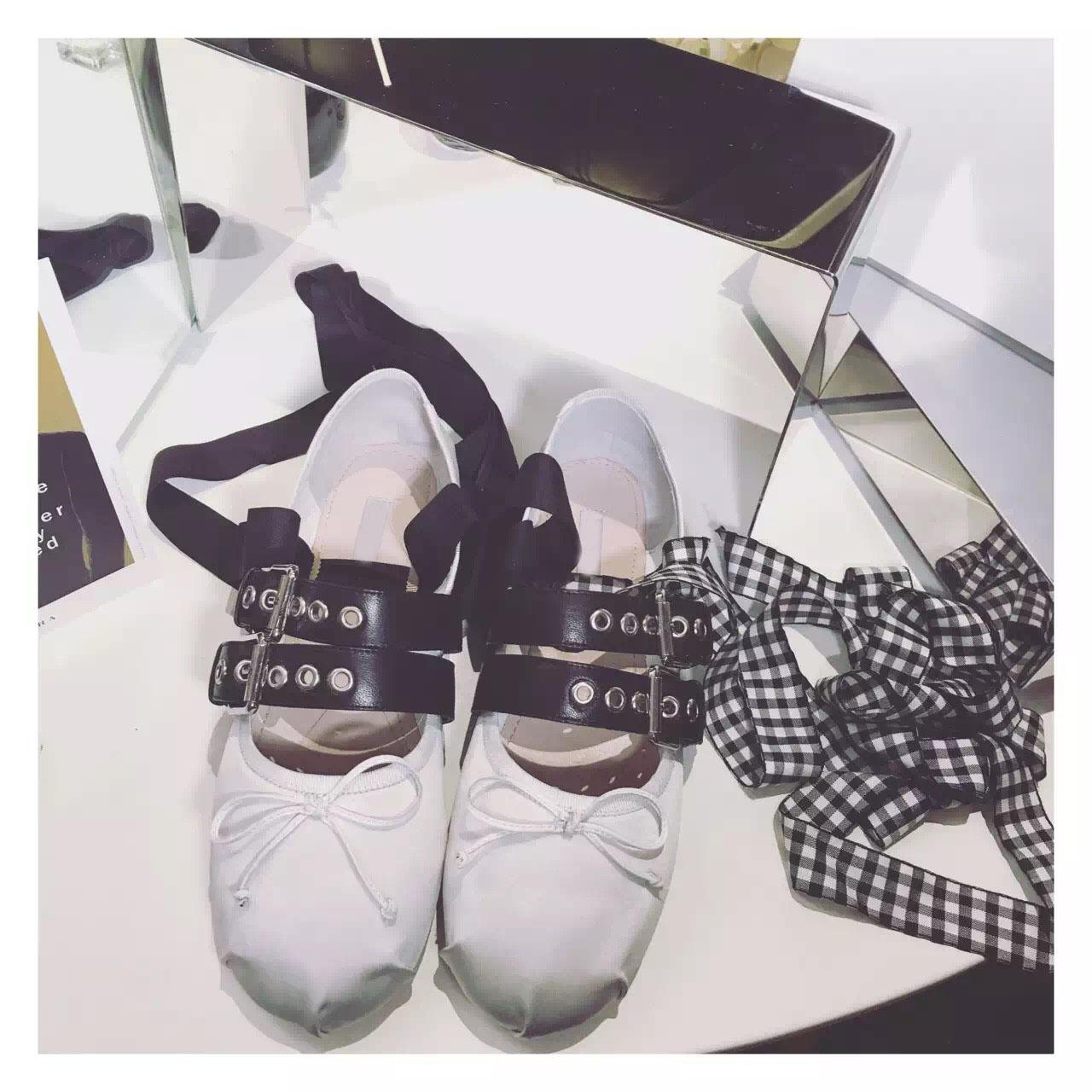 Belt buckle decorated font b plaid b font strap flat ballet shoes bowknot lighter leather women