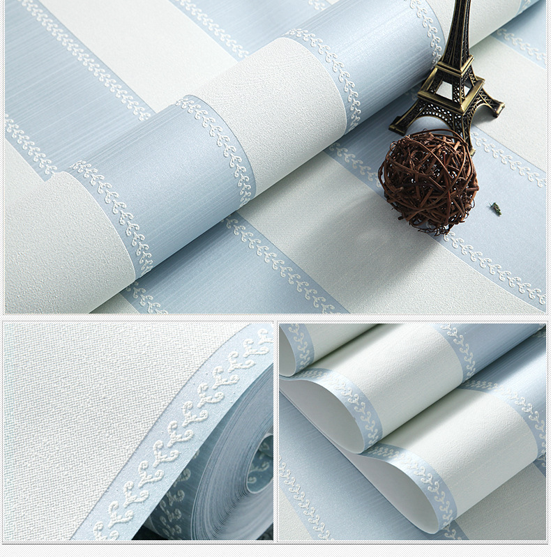 Non-woven foam wallpaper modern minimalist bedroom studio shop for small fresh blue and white vertical striped wallpaper wholesa(China (Mainland))