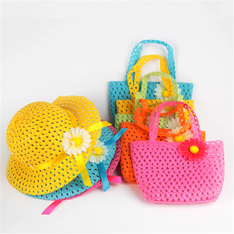 Summer Sun Hat Girls Kids Straw Hat Cap Beach Hats Bag Flower Tote Handbag Bags Suit(China (Mainland))