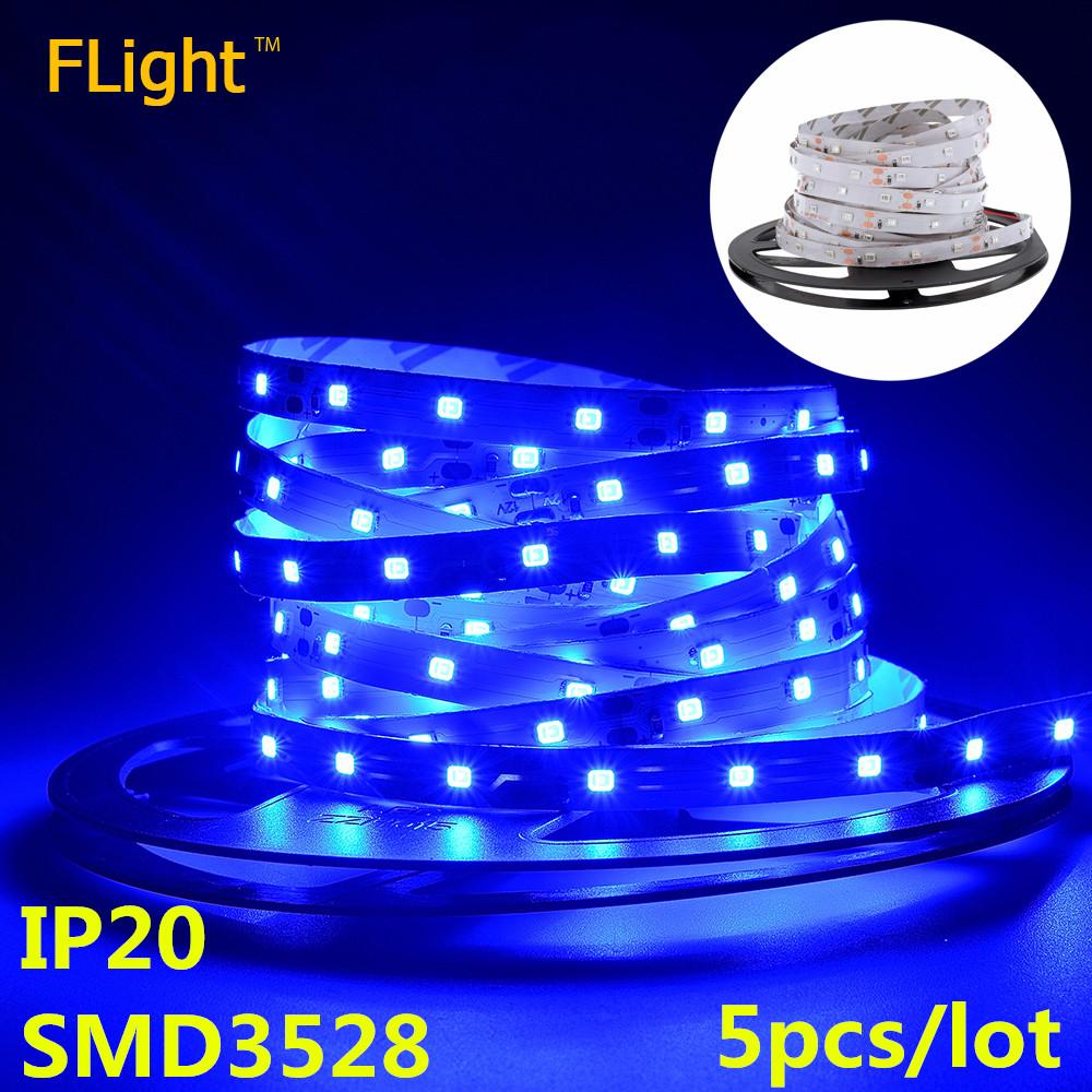 High Brightness LED Strip SMD 3528 Lamp IP20 12V 60LED/m Blue Flexible LED Ribbon Diode Tape Christmas Lights 5pcs/lot(China (Mainland))