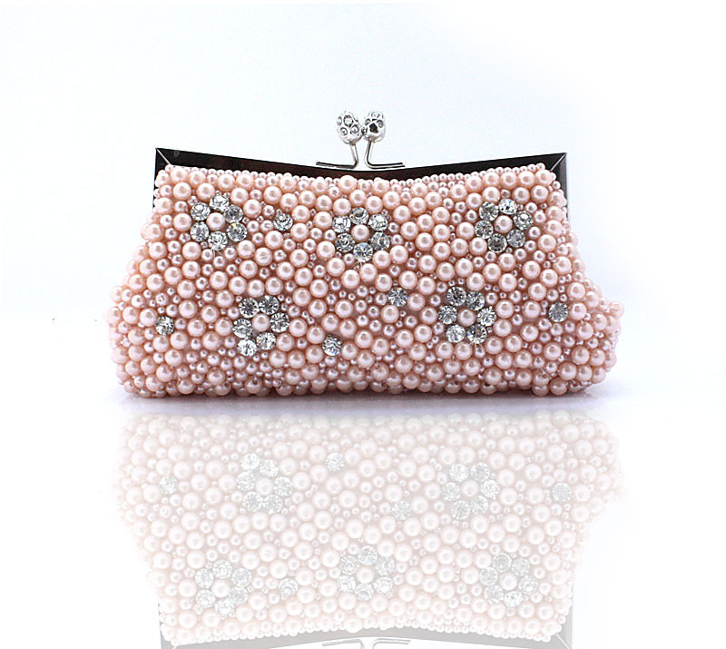 Free Shipping + 2015 Women Pearl Beaded Wedding Bags Evening Bag Clutch Bags Gorgeous Crystal ...