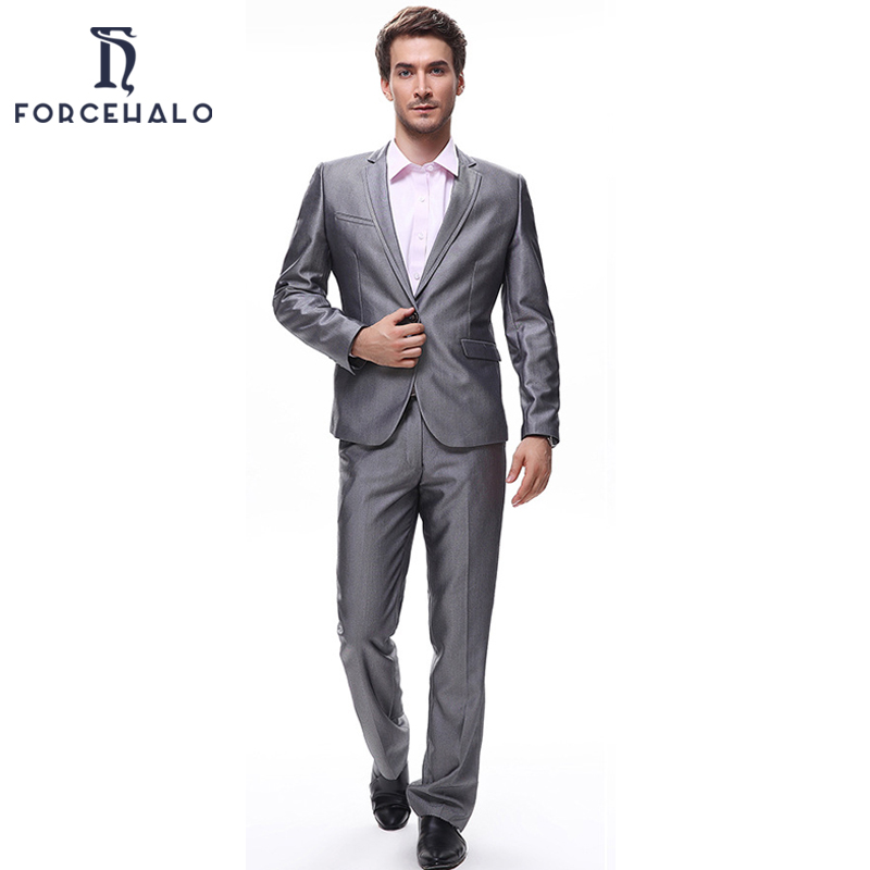 2015 Men Suits Casual Cotton Men's Suit Slim Fit Business Dress Blazer Plus Pants Top Quality