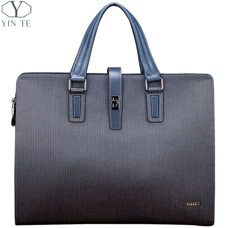 Men's Genuine Leather Latest Fashion Young Business Briefcase Blue Color Handbag Cow Leather Bag Office/Business/Lawyer Totes(China (Mainland))