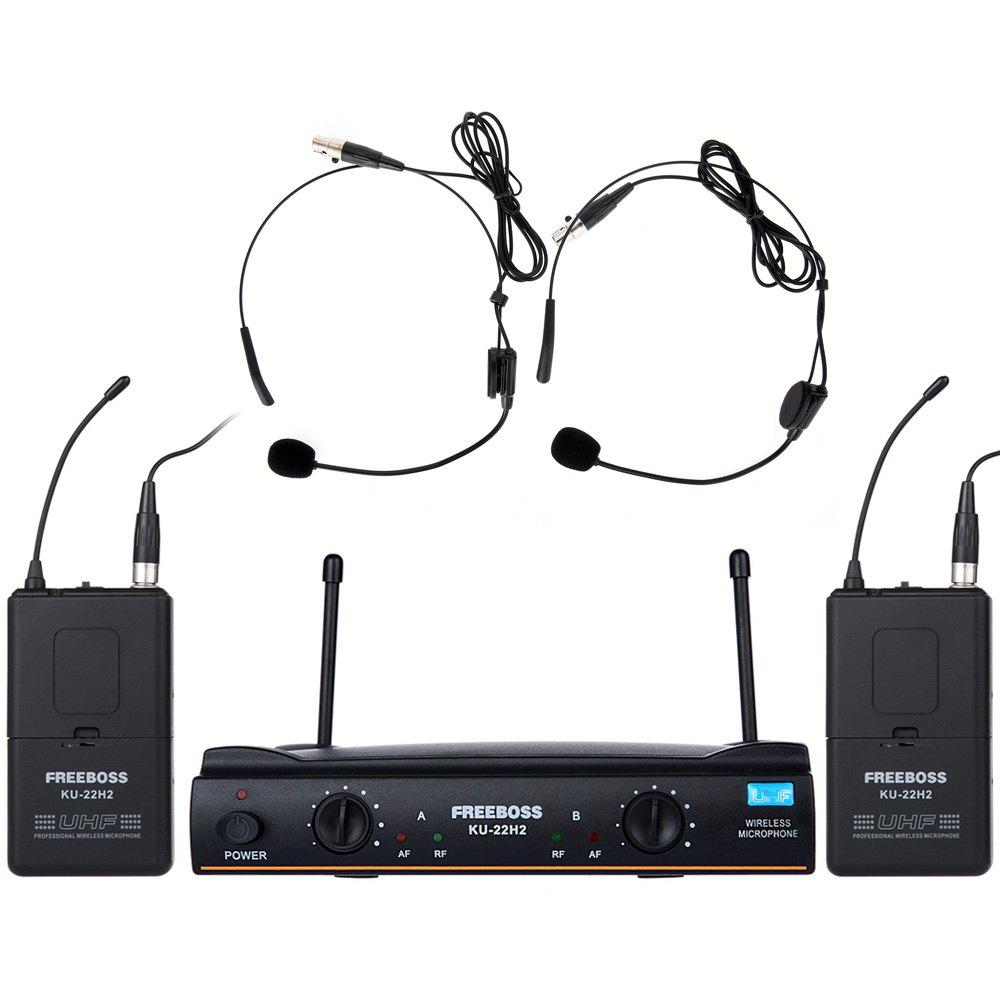 Фотография FREEBOSS KU-22H2 Dual Channel UHF Wireless Karaoke DJ Lavalier Microphone Double Portable Transmitter Set