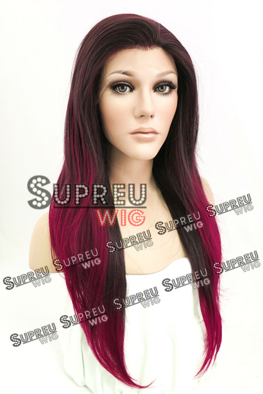 24 Long Straight Dark Brown Mixed Burgundy Lace Front Wig Heat Resistant LW201<br><br>Aliexpress
