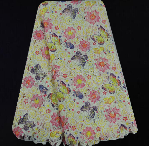 EAL67-2!butterfly pattern printed guipure lace fabric in nice colorful,high quality African cord lace for fashion dress!(China (Mainland))