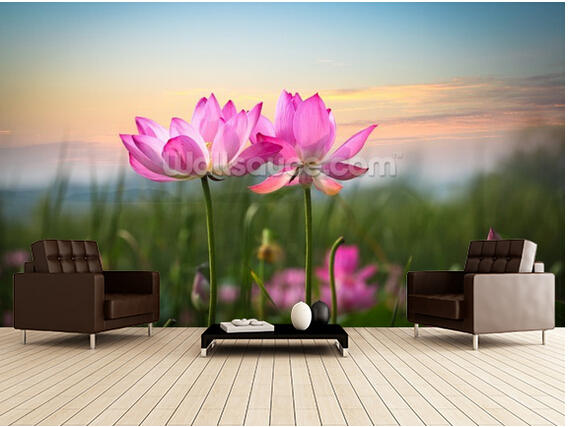 Custom floral wallpaper,Lotus Flower in Sunset,3D scenery for living room bedroom kitchen background wall waterproof wallpaper