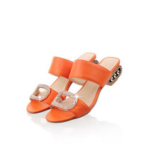 Women Sandals 2016 Ladies Summer Slippers Shoes Women Low Heels Sandals Large Size 9 10 Fashion Orange Rhinestone Shoes Yellow(China (Mainland))