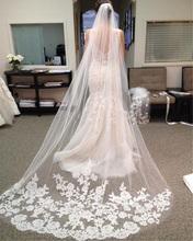 Bridal Veils 2017 Women Applique Edge One-Layer Wedding Veil Wedding Accessories Muslim Wedding Veil(China (Mainland))