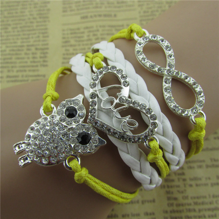 product New Arrival Small Adorn Article With Drill Owl Hearts Words More Lather Cord Bracelet Free Shipping SL