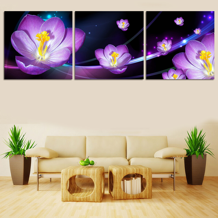 Modern Style Abstract Oil Painting Canvas Purple Flowers Landscape Wall Pictures Decorative Paintings 3 Panel Wall Art No Framed(China (Mainland))
