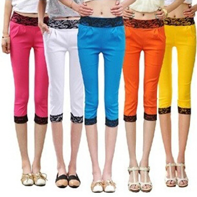 2015 woman sexy candy color lace pants Girl lady fashion High Elastic Slim fit leggings good quality wholesales (WKZ-066)(China (Mainland))