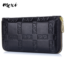 Buy MOXI Women Phone Bag Genuine Cow Leather Clutch Wallet Women Zipper Long Card Holder Women Trendy Female Purse Large Capacity for $14.56 in AliExpress store