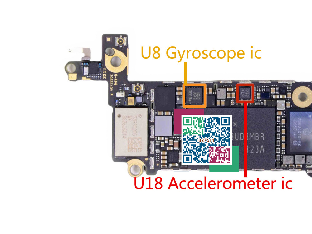 3pair/lot U8 IC three-axis gyroscope ic + U18 Accelerometer ic For iphone 5S on Logic board(China (Mainland))