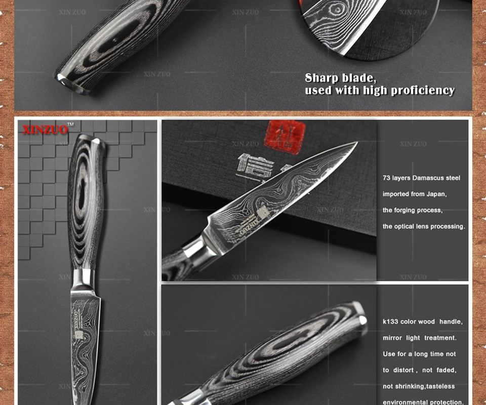"Buy XINZUO 3.5"" inch paring knife 73 layers Japan Damascus kitchen knife sharp peeling fruit knife Color wood handle free shipping cheap"