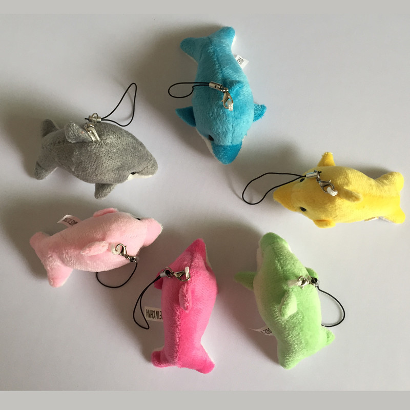60pcs/lot Wholesale Christmas Present Mix Candy Color Mini Dolphin Plush Phone Pendant Toy Accessories for wedding gift(China (Mainland))