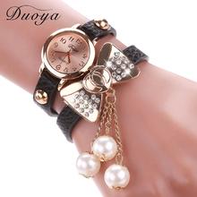 Duoya Brand Hot Fashion Butterfly Bow Pearl Casual Leather Bracelet Wristwatch Women Dress Cheap Jewelry Electronics Watch XR533
