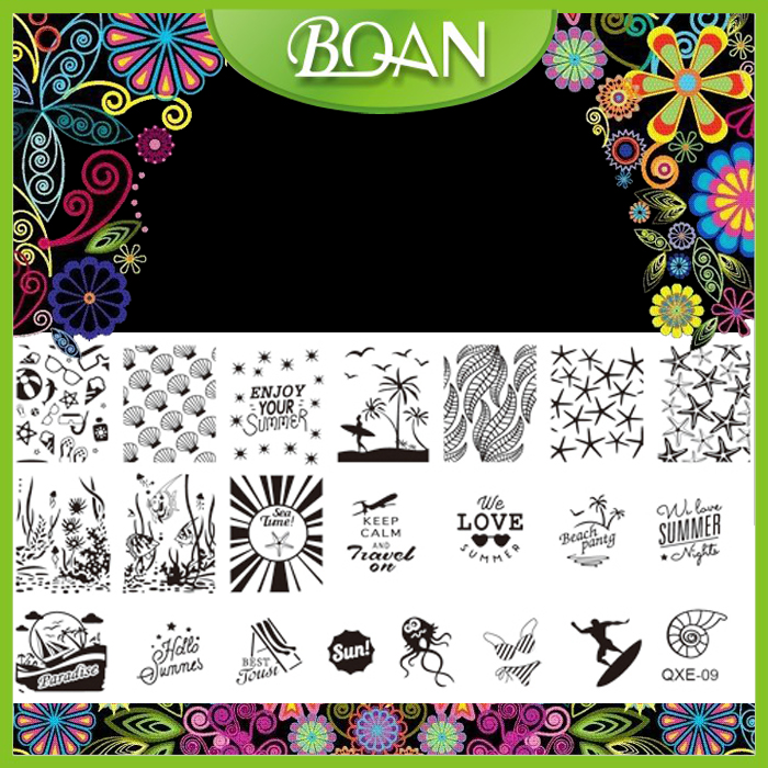 10pcs/lot BQAN New Design Sea Plants/Shell Styles Stainless Steel Nail Plate Stamping 2016 XQE09(China (Mainland))