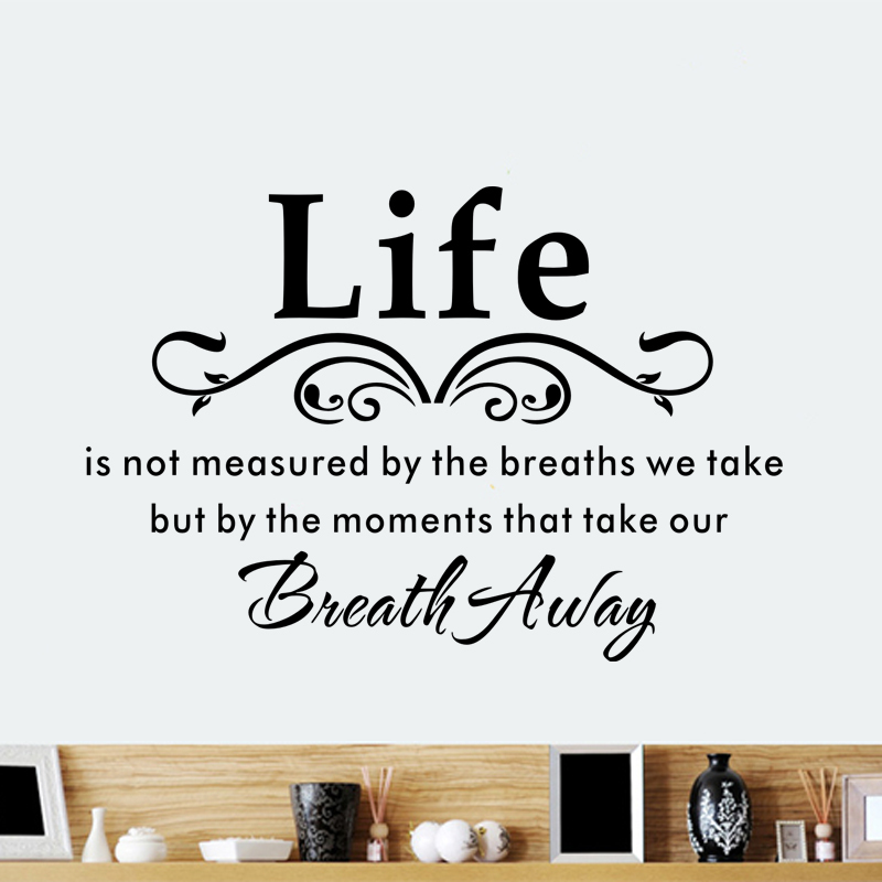 Life quote vinyl removable wall sticker living room decor for Living room quote stickers