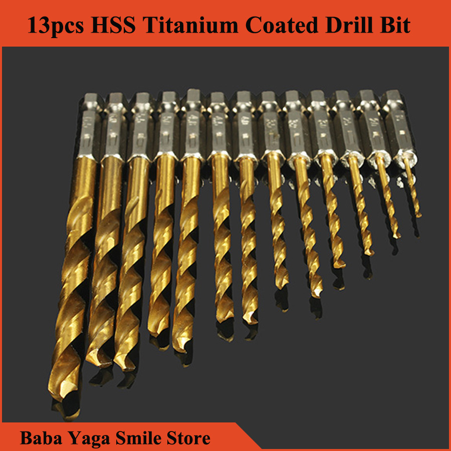 product 13pcs 1.5-6.5mm HSS Titanium Coated 1/4 Inch Hex Shank High Speed Steel Mini Drill Bit Set Tool Furadeira Herramienta Termometro