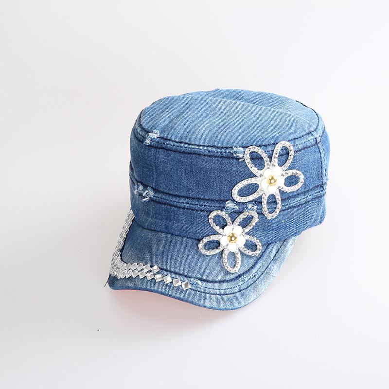 2015 Real Gorras Planas Manufacturers Selling Korean Fashion With Diamond Flower Hat Worn Denim Baseball Cap For Peaked Factory(China (Mainland))
