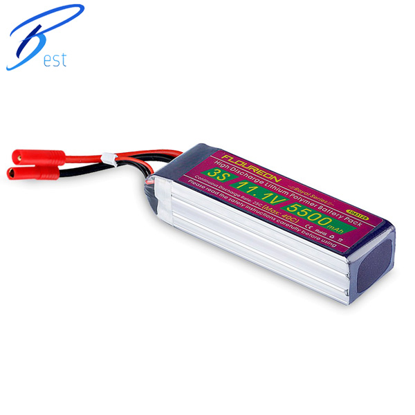 FLOUREON RC Lipo Battery For RC helicopter RC Hobby 11.1V 5500mAh 3S 25 Grade A lipo cells HXT 4mm Plug(China (Mainland))
