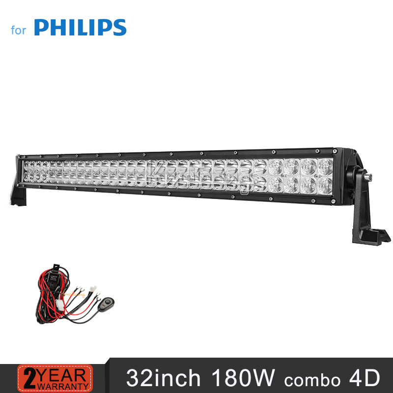 для Philips прямые дисплей 32inch 180вт пятно наводнение Combo луч светодиодный свет бар внедорожник ATV для бездорожья прицеп Кемпер 4х4 светодиодные фары дальнего света 12В